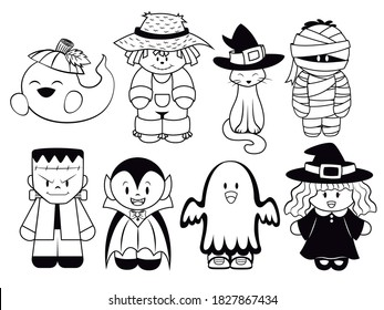 SILOHUETTE CLIP ART OF HALLOWEEN CHARACTERS, GHOST, WITCH, SCARECROW, BLACK CAT, MUMMY, FRANKENSTEIN AND VAMPIRE