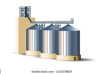 Silos of grain elevator. Metal bins for grain storage. Granary vector illustration