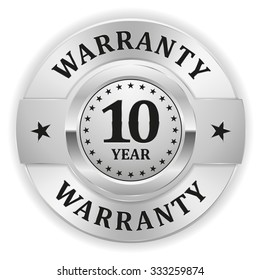 Silver 10 Year Warranty Badge On White Background