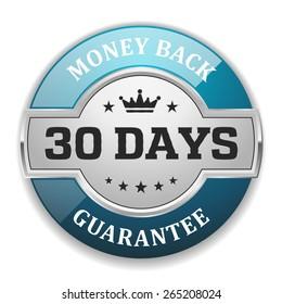 Silver 30 days money back badge with light blue border
