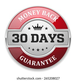 Silver 30 days money back badge with red border