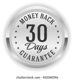 Silver 30 days money back button, badge on white background