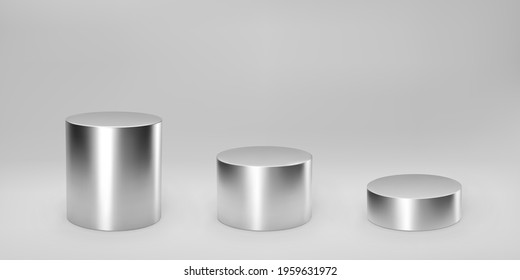 Silver 3d cylinder set front view and levels with perspective isolated on grey background. Cylinder pillar, chrome steel pipe, museum stages, pedestals or product podium. 3d geometric shapes vector