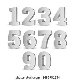 Silver 3d numbers. Symbol set. Vector illustration