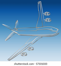 Silver 3D outline of jet illustration vector