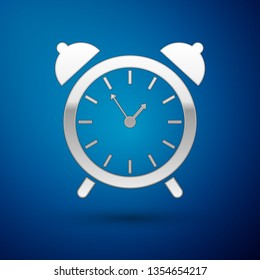 Silver Alarm clock icon isolated on blue background. Wake up, get up concept. Time sign. Vector Illustration