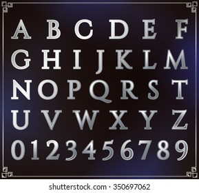 Silver alphabet set. Alphabetic font and numbers. Latin alphabet letters. Blue background. Vector letter design illustration.