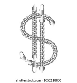 Silver american dollar money sign made of shiny thick metal chains with a lobster claw clasp lock.Realistic vector illustration isolated on a white background.