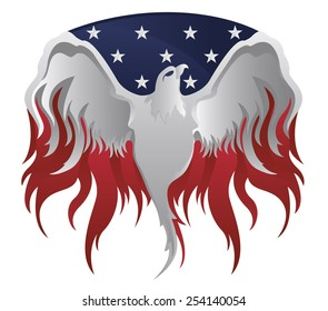 Silver American Eagle on American flag and Flames
