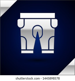 Silver American football shorts icon isolated on dark blue background. Football uniform sign.  Vector Illustration