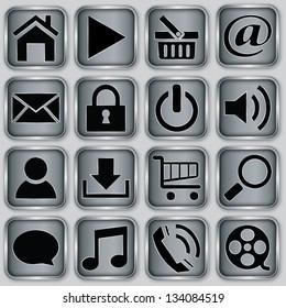 Silver app icon set, vector illustration