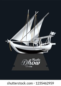 Silver Arabic Dhow Trophy Vector illustration.