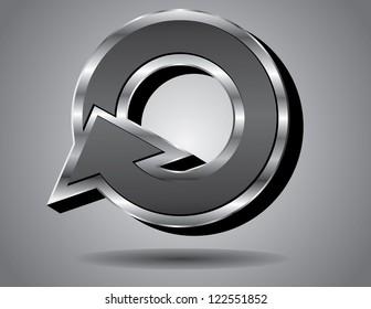 Silver Arrow Symbol Icon Capital Letter O