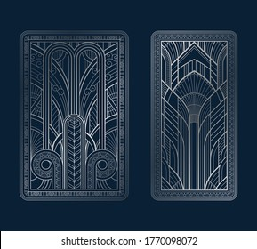 Silver art deco panels with ornament on dark blue background