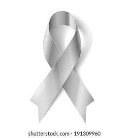 Silver awareness ribbon as symbol of Parkinson Disease, ovarian cancer, brain disorders and disabilities