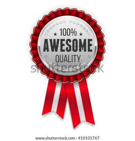 Silver Awesome Quality Badge Rosette Red Stock Vector (Royalty Free