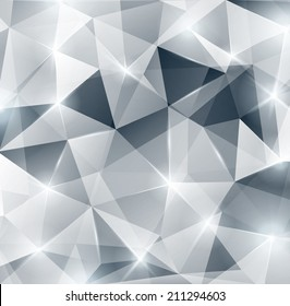 Silver background with lights and sparkles. Vector illustration. Abstract polygonal backdrop