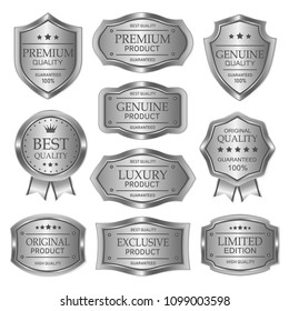 Silver badges seal quality product on white background