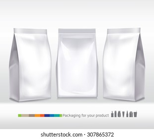 Silver bag package on a white background
