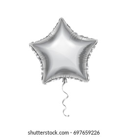 Silver Balloon, Star shape. Vector mylar balloon. Mockup for balloon print.