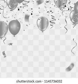 silver balloons, confetti and streamers on white background. Vector illustration.