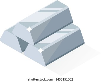 Silver bars or ingot. Flat style isometric illustration.