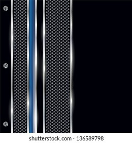Silver, black and blue metal border. This image is a vector illustration