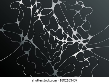 Silver black fluid structure artistic graphic design. Embossing effect. Liquid marble texture background with silver curves grid. Horizontal wallpaper. Fluid art, digital marbling. Waves texture.