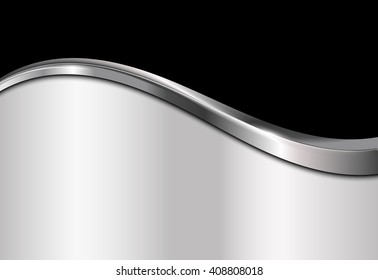 Silver and black metallic background. Abstract vector illustration.