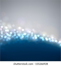 Silver and blue defocused background. Bright bokeh. Vector illustration.