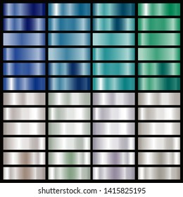 silver and blue and green foil texture gradation background set for chrome border, frame, ribbon, label design - Vector