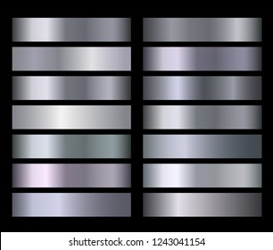 Silver blue metallic, bronze, gold, chrome metal foil texture vector gradients. Silver metallic gradient gradation for backgrounds, banner, user interface Vector template design