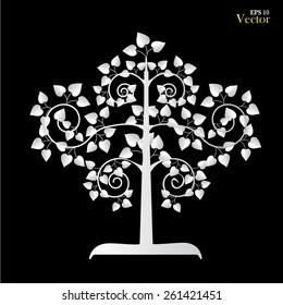 silver  Bodhi tree symbol  on black  background. Silver  tree. vector illustration