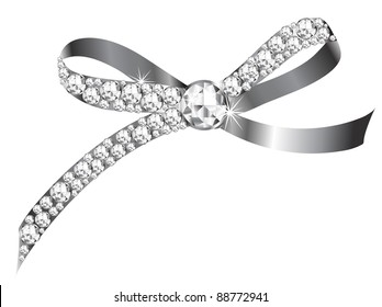 Silver bow with the diamonds
