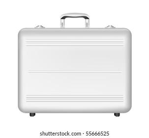 silver briefcase оn white background. Vector