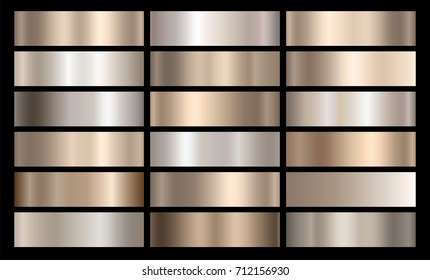 Silver, bronze and gold foil texture gradation background set. Vector golden elegant, polished, reflective and metal gradient collection for silver or chrome border, frame, button, label design