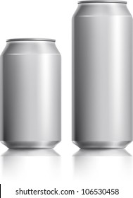 Silver can vector visual 330 ml & 500 ml, ideal for beer, lager, alcohol, soft drink, soda, fizzy pop, lemonade, cola, energy drink, juice, water etc. Drawn with mesh tool. Fully adjustable & scalable