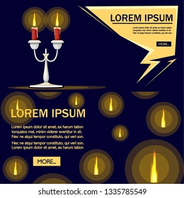 Silver candelabrum with burning red candle. Flat vector illustration on dark blue background. Home decor furniture. Candelabra with two branches. Place for text.