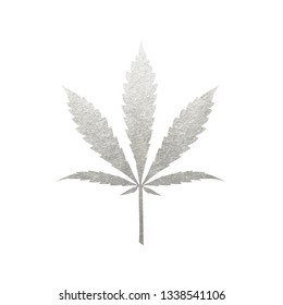 Silver cannabis leaf vector - metallic silver paint foil silhuette of marijuana ruderalis leaf on white background, gray shiny weed sign