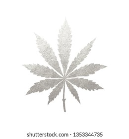 Silver cannabis leaf vector - metallic golden paint foil silhuette of marijuana indica leaf on black background, yellow shiny weed sign
