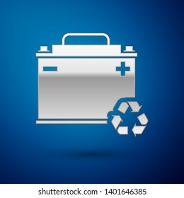 Silver Car battery with recycle icon isolated on blue background. Accumulator battery energy power and electricity accumulator battery. Vector Illustration
