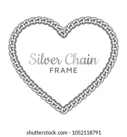 Silver chain heart love border frame. Wreath shape. Jewelry design, text frame.Realistic vector illustration isolated on a white background.