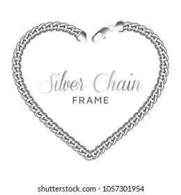 Silver chain heart love border frame. Wreath shape with a lobster claw clasp lock. Jewelry design, text frame.Realistic vector illustration isolated on a white background.