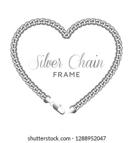 Silver chain heart love border frame. Wreath shape with a lobster claw clasp lock. Jewelry design, text frame. Realistic vector illustration isolated on a white background.