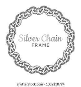 Silver chain round border frame. Wreath circle wavy shape. Jewelry design, text frame.Realistic vector illustration isolated on a white background.