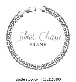 Silver chain round border frame. Wreath circle shape with a lobster claw clasp lock. Jewelry accessory design, text frame.Realistic vector illustration isolated on a white background.