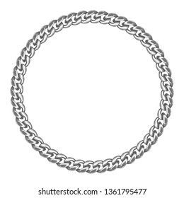 Silver chain round border frame. Seamless wreath circle shape. Jewelry design, text frame. Realistic vector illustration isolated on a white background.