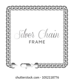 Silver chain square border frame. Rectangle wreath shape with a lobster claw clasp lock. Jewelry design, text frame.Realistic vector illustration isolated on a white background.
