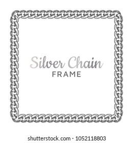 Silver chain square border frame. Rectangle wreath shape. Jewelry design, text frame.Realistic vector illustration isolated on a white background.