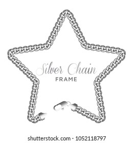 Silver chain star border frame. Wreath starry shape with a lobster claw clasp lock. Jewelry accessory design, text frame.Realistic vector illustration isolated on a white background.